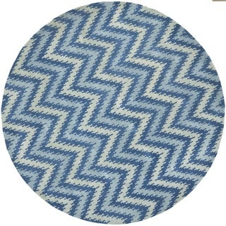 Safavieh Handmade Wyndham Blue New Zealand Wool Geometric-Print Rug (7' Round)