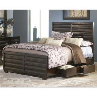 Scalloped Four-Drawer Ebony Storage Bed