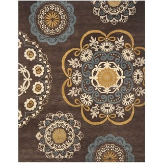 Safavieh Handmade Wyndham Dark Eggplant New Zealand Wool Rug (8' x 10')