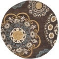 Safavieh Contemporary Handmade Wyndham Dark-Eggplant New Zealand Wool Rug (7' Round)