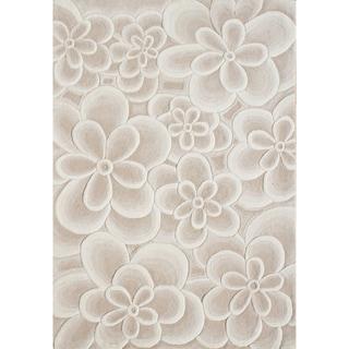 Alliyah Handmade Bleach Tan Flowers New Zealand Blend Wool Rug (10' x 12')