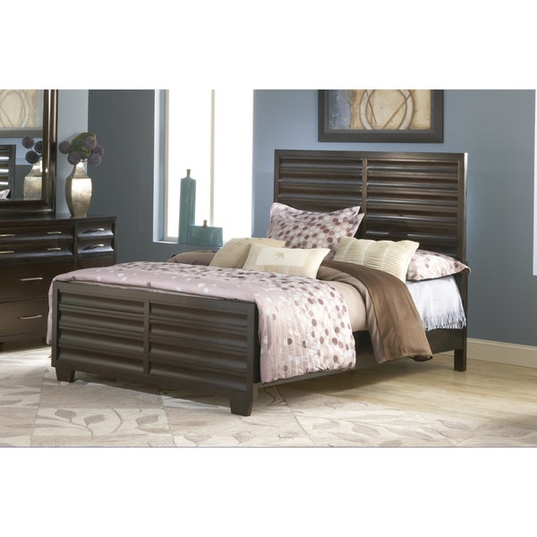 Scalloped Ebony Solid Wood Panel Bed