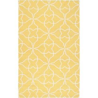 Hand-woven Canary Geo Sunshine Yellow Wool Rug (8' x 11')