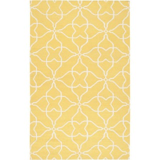 Hand-woven Canary Geo Sunshine Yellow Wool Rug (5' x 8')