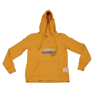 Reebok San Diego Chargers NFL Women's French Terry Trophy Gold Slub Hoodie Pullover Hooded Sweatshirt