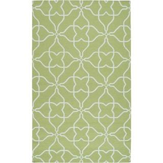 Hand-woven Springtime Geo Lime Wool Rug (8' x 11')