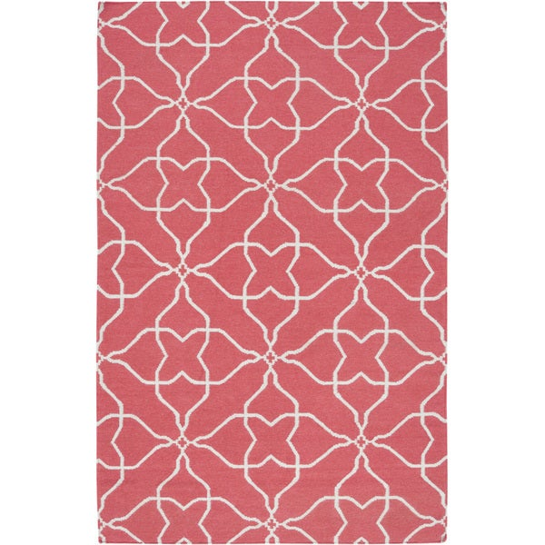 Hand-woven Watermelon Geo Honeysuckle Red Wool Rug (3'6 x 5'6)