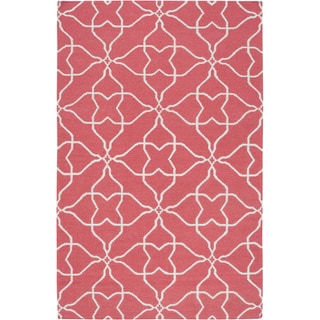 Hand-woven Watermelon Geo Honeysuckle Red Wool Rug (8' x 11')