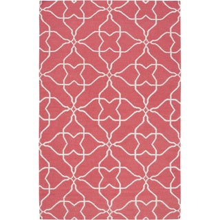 Hand-woven Watermelon Geo Honeysuckle Pink Wool Rug (8' x 11')