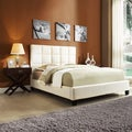 TRIBECCA HOME Sarajevo Beige Fabric Bed with Nightstand Set
