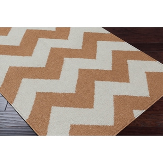 Handwoven Neutral Chevron Mocha Wool Rug (5' x 8')