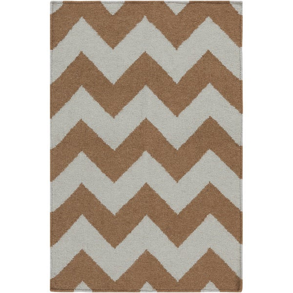 Handwoven Neutral Chevron Mocha Wool Rug (8' x 11')