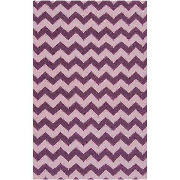 Handwoven Berry Chevron Berry Wool Rug (9' x 13')