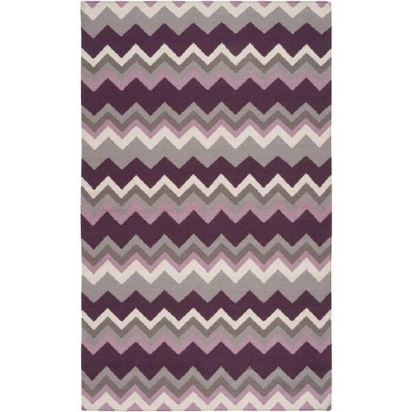 Handwoven Wine Chevron Prune Purple Wool Rug (3'6 x 5'6)