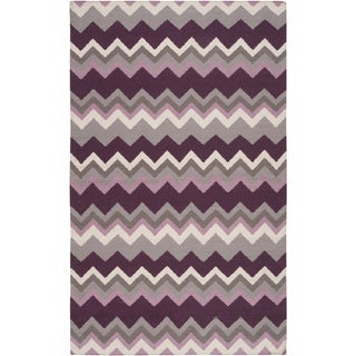 Handwoven Wine Chevron Prune Purple Wool Rug (2' x 3')