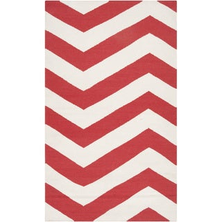 Handwoven Tomato Chevron Orange/ Red Wool Rug (2' x 3')