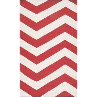 Handwoven Tomato Chevron Orange-Red Wool Rug (3'6 x 5'6)