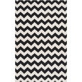 Handwoven Midnight Chevron Jet Black Wool Rug