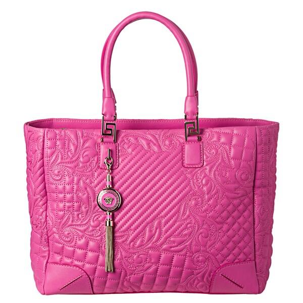 Versace 'Vanitas' Pink Leather Elettra Quilted Tote Bag