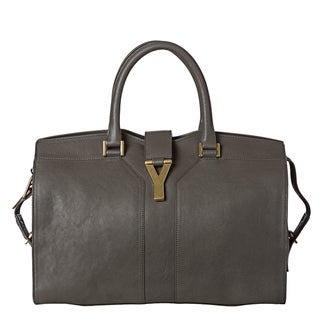 Yves Saint Laurent 'Cabas Y' Medium Grey Leather Tote Bag