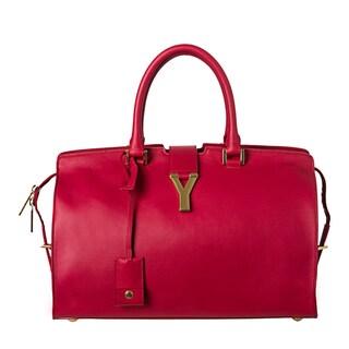 Yves Saint Laurent 'Cabas Classique Y' Red Leather Tote Bag