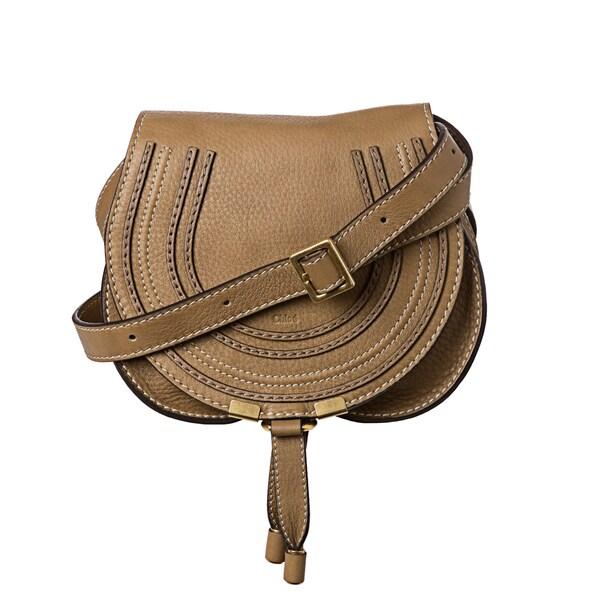 Chloé 'Marcie' Mini Taupe Leather Round Cross-body Bag