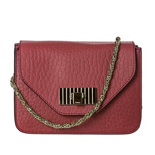 Chloe 'Sally' Small Dark Red Textured Leather Cross-body Bag