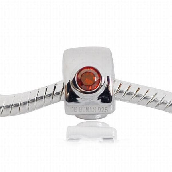 De Buman Sterling Silver Cubic Zirconia Charm Bead