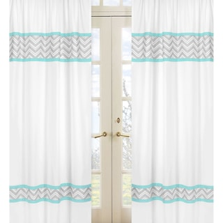 Turquoise Grey Zig Zag 84-inch Curtain Panel Pair