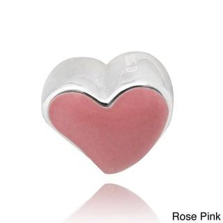 De Buman Sterling Silver Enamel Pink Heartbeat Charm Bead