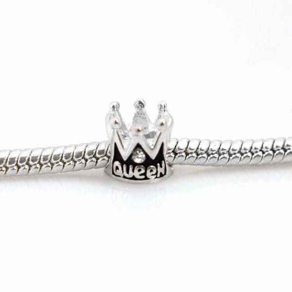 De Buman Sterling Silver Queen Crown Charm Bead
