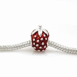 De Buman Sterling Silver Enamel Strawberry Charm Bead
