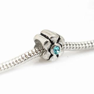 De Buman Sterling Silver Blue Crystal Flower Charm Bead