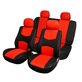 FH Group Red Fabric Full Set Seat Covers Solid Bench for Sedans and SUVs