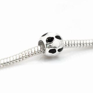 De Buman Sterling Silver Enamel White and Black Ball Charm Bead
