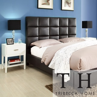 TRIBECCA HOME Sarajevo Dark Brown Vinyl Bed with White Rectangular Nightstands