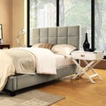 TRIBECCA HOME Sarajevo Taupe Velvet Bed with White Box Nightstands
