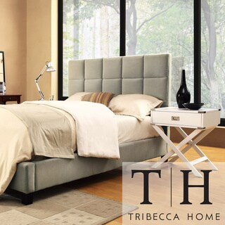 TRIBECCA HOME Sarajevo Taupe Velvet Bed with White Box Nightstands