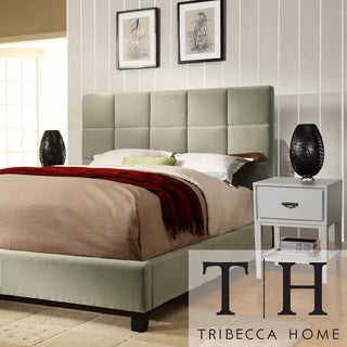 TRIBECCA HOME Sarajevo Taupe Velvet Bed with White Nightstands