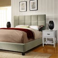 ETHAN HOME Sarajevo Taupe Velvet Bed with White Nightstands