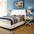 TRIBECCA HOME Sarajevo White Vinyl Queen Bed with White Box Nightstands