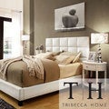 TRIBECCA HOME Sarajevo White Vinyl Bed with Oval Nightstands