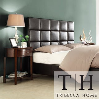 TRIBECCA HOME Sarajevo Dark Brown Upholstered Bed with Two Espresso Oval Nightstands