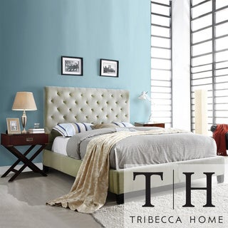 TRIBECCA HOME Sophie Taupe Velvet Bed with Espresso Box Nightstands