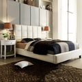 TRIBECCA HOME Sarajevo Beige Fabric Bed with Two White Oval Nightstands