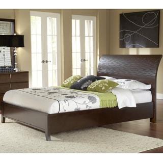 Wave Patterned Chocolate Brown Platform Bed