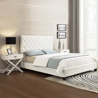 TRIBECCA HOME Sophie White Cushioned Bed with Two White Box Nightstands