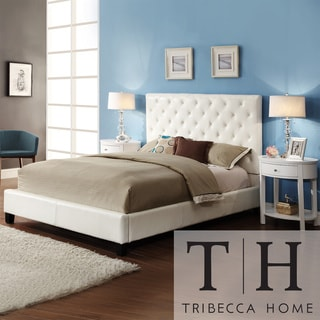 TRIBECCA HOME Sophie White Cushioned Bed with Two White Oval Nightstands