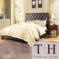 TRIBECCA HOME Sophie Dark Brown Cushioned Bed with Two Espresso Nightstands