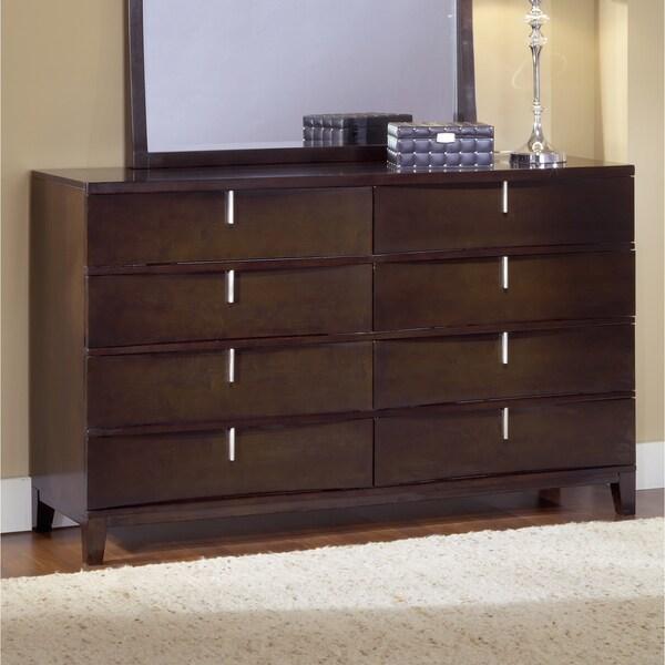 Chocolate Brown Reverse Bowfront 8-drawer Dresser